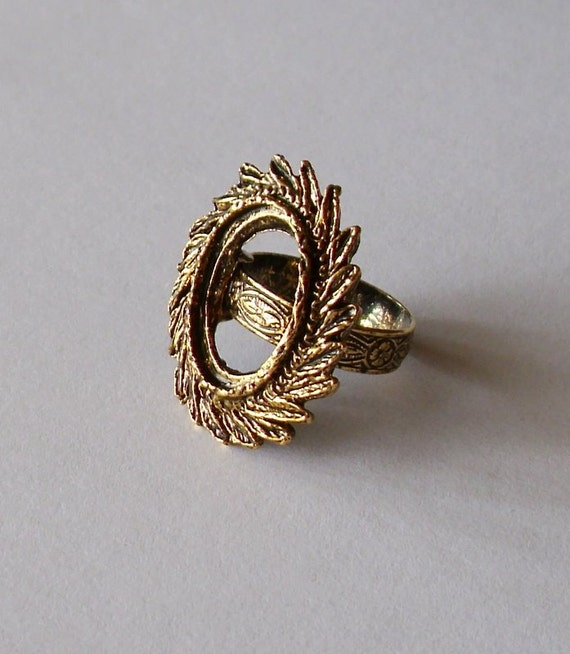 Ring Blanks (10)  -  Antique Gold Feather RESERVED for Rita