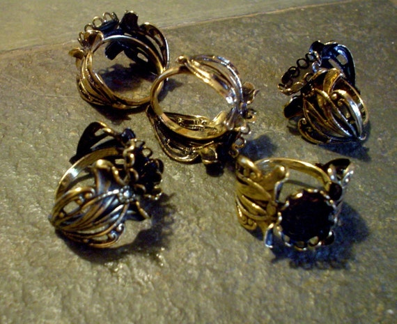 5 Filigree Gold Ring Blanks with 10 x 12 mm Cabochon Mounting NEW MOUNT SIZE
