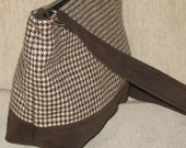Saddle Brown Houndstooth vintage wool handbag