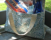 Turquoise spiral shopping tote