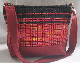 Flame red handwoven bag