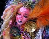 The Unicorn And The Maiden-Spirit Art Doll-Mixed Media Assemblage