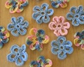 Reduced Price.... Little Flower Appliques, Crocheted...READY TO SHIP