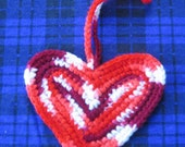 PIF,,,Candy Cane Heart Ornament, Crocheted, Great Decoration or Package Topper...READY TO SHIP