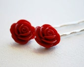 Sexy Red Rose Cabochon Bobby Pins