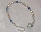 Vintage Rhinestone Button Closure Pearl and Crystal Bracelet
