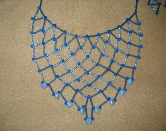 Bright Blue Netting Necklace