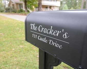 Mailbox VINYL Lettering with Name and Address CURB APPEAL HOME