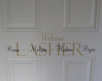 Welcome front door Vinyl lettering HOME decor