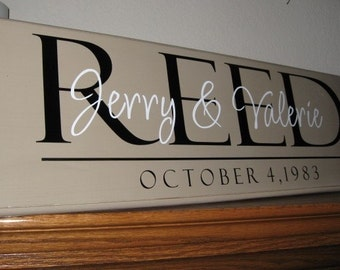 Custom Wood Plaque with Vinyl Lettering {modern traditional unique} personalized with names and established date weddings asimpleimpression