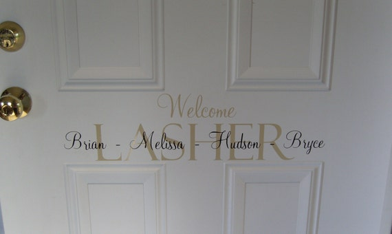 Items similar to welcome front door vinyl lettering home for Door vinyl design