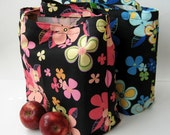 Pair of Market Totes- Midnight Flowers