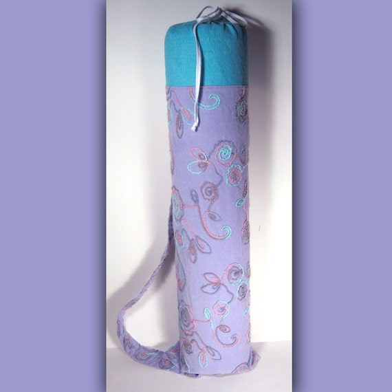 Yarn Swirl Lavender and Teal Corduroy Yoga Mat Bag