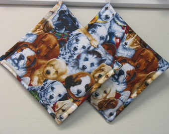 Puppy Print 2 Potholders Set of 2