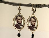 Abe the Babe (The Earrings) Abraham Lincoln vintage inspired brass for all history buffs