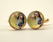 Beatrice The Surfer Girl Vintage Pin-Up Cufflinks