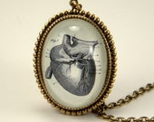 If I Only Had A Heart Anatomical Heart Engraving Necklace. Steampunk Valentine