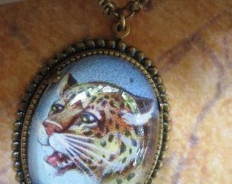 Def Leopard vintage inspired jungle cat brass cameo pendant necklace Boho Retro Hipster