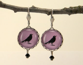 Purple Rockin' Robin Round Earrings