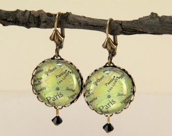 I love Paris in the.... Paris Map Earrings Travel the world in style
