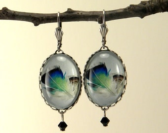 Birds Of A Feather Silver Oval Earrings
