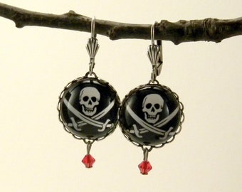 Jolly Roger Pirate Earrings Skull & Cross Bones