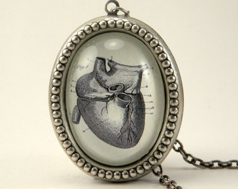If I Only Had A Heart Anatomical Heart Engraving Silver Pewter Necklace. Steampunk Valentine