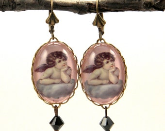 Cloud 9 Valentine Cupid Earrings Victorian inspired image. Vintage Valentine Perfection