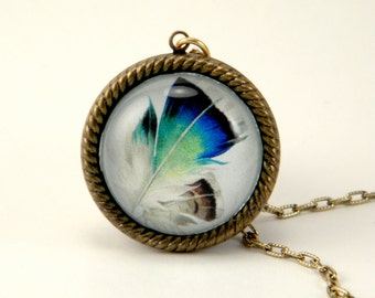 Birds of a feather vintage inspired peacock feather brass dome pendant necklace Boho Hippie Pretty