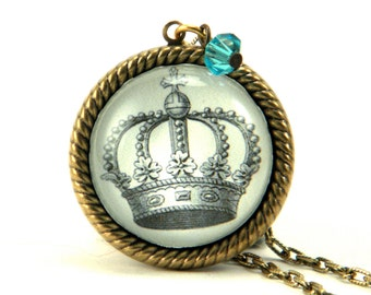 Poor Little Rich Girl vintage inspired brass crown engraving pendant necklace steampunk victorian
