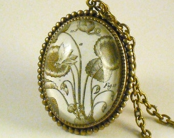 Loverly Weeds vintage plant specimen engraving brass cameo pendant necklace Boho Steampunk Flowers