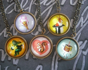 We all Scream- vintage inspired dancing ice cream brass cameo pendant necklace