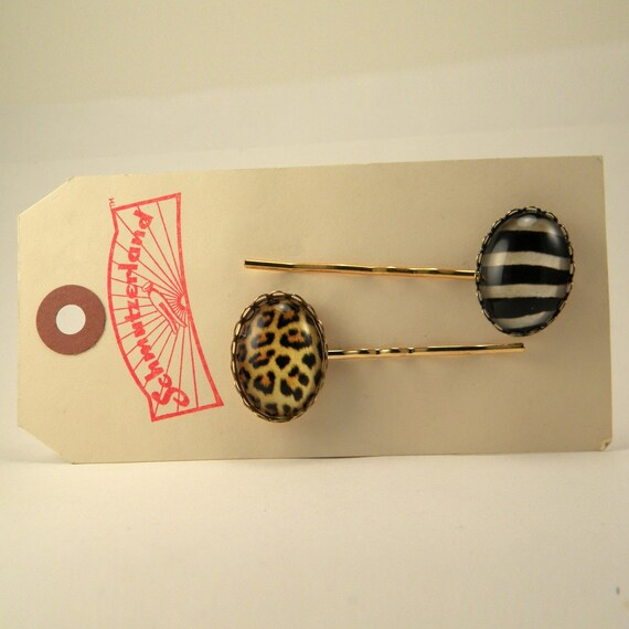 Natural Wonders Leopard and Zebra Pattern Hair Pins