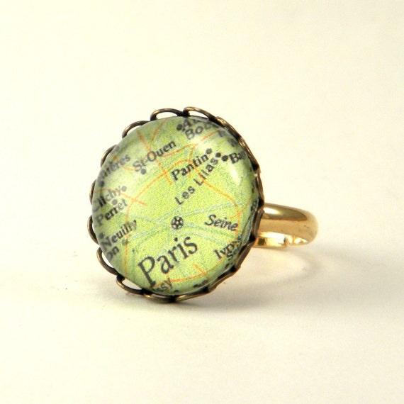 I Love Paris Map Round RIng