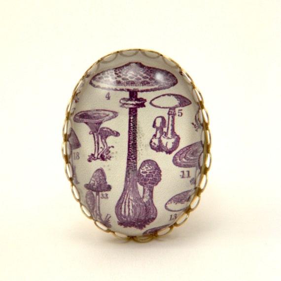 Fungus Among Us Cocktail Ring Fabulos mushroom archival engraving