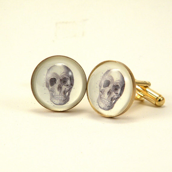 To Be or Not to be Anatomical Skull Cuff Links