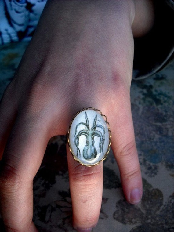 Petite I'm All Arms- vintage inspired nautical octopus engraving brass cameo cocktail ring