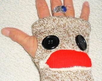 Sock monkey fingerless texting gloves
