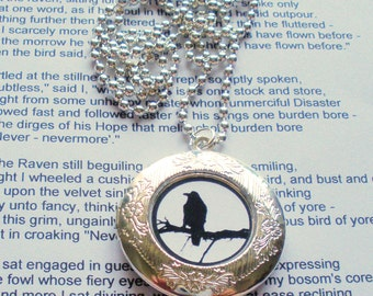 Black crow blackbird raven bird locket necklace pendant altered art jewelry