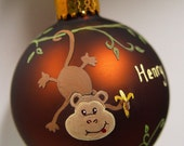 Baby Monkey Ornament - Hand Painted and Personalized