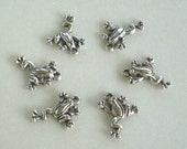 6 Silver leaping frog charm findings pendants