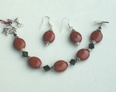 Red Jasper, Swarovski Crystal Bracelet, FREE earrings, small