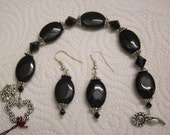 Black Onyx Stone, Jet black Swarovski Crystals, FREE earrings