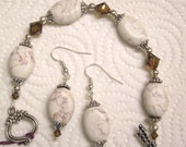 Howlite Brown and White Stone, Brown Swarovski Crystals, FREE earrings