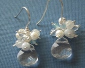 Crystal briolette and gems cluster earrings