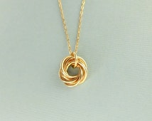 Medium Love Knot Necklace (Gold Filled), trinity necklace