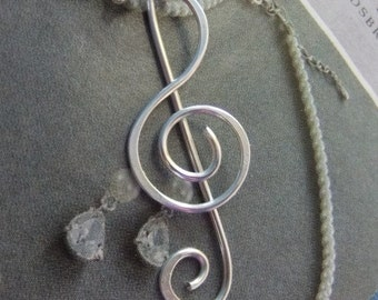 Treble Clef Necklace (Sterling Silver), Treble clef sterling silver necklace