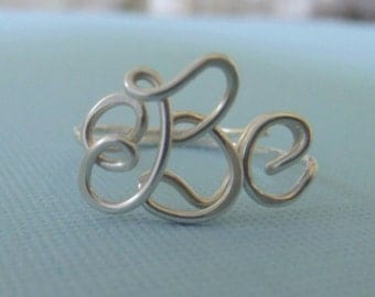 Handcrafted Monogram Ring (SS), Monogrammed Ring (Sterling Silver), personalized ring