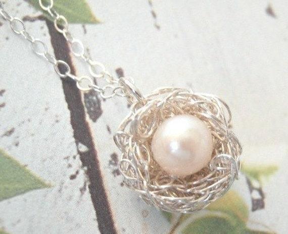 Tiny Silver Nest Necklace