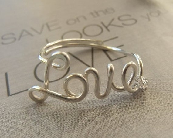 Love ring with crystal, sterling silver